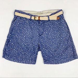 Scotch & Soda Belted Blue Star Print Shorts Sz 31